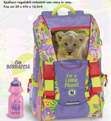 LIVING PLANET 2019-20 WWF_GIRL JUNGLE SCHOOL BACKPACK  + FREE BOTTLE copia